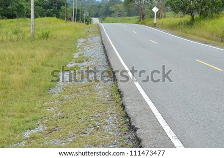 Section of asphalt road in a rural area