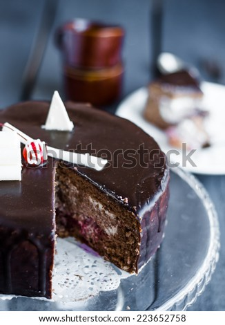 section of chocolate cake with cream and cherry on the stand, on a wooden board