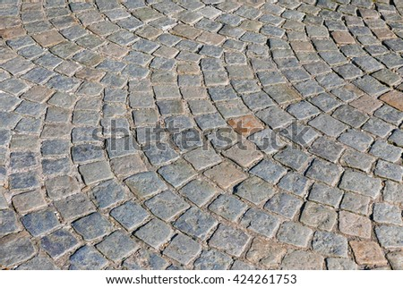 Section of cobbled stones in pedestrian street
