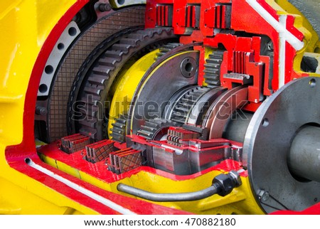 Section of large diesel engine, motor gear