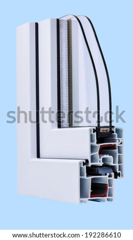 Section of plastic window profile isolated on blue - stock photo