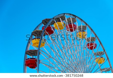 section of the Ferris wheel in pacific park, Santa Monica Pier - stock photo