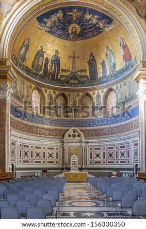 Section of the interior of Basilica of St. John Lateran in Rome. - stock photo