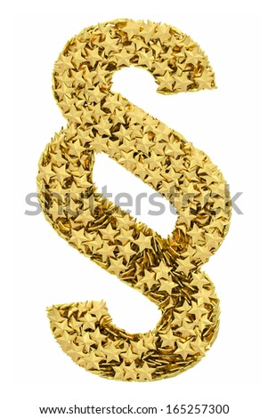 Section sign composed of golden stars isolated on white. High resolution 3D image
