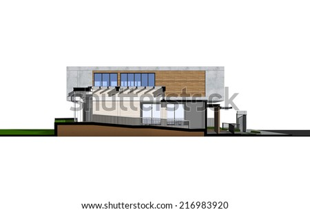 Section views of house and construction space isolated on white background.