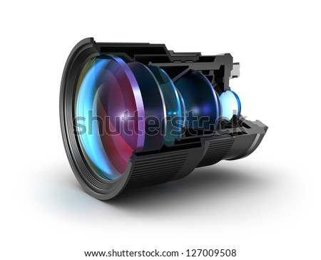 Sectional camera lens - stock photo