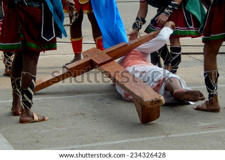 SECUNDERABAD,INDIA-APRIL 18:Christians celebrate Good Friday by enacting the crucifixion of Jesus Christ act in St. Mary's Church, in Secunderabad,India on April 18 ,2014.
