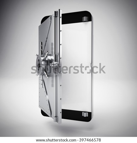Secure banking on cellphone - stock photo
