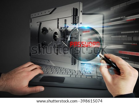 Secure banking on laptop - stock photo