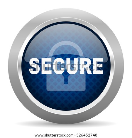 secure blue circle glossy web icon on white background, round button for internet and mobile app - stock photo