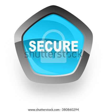secure blue metallic chrome web pentagon glossy icon - stock photo