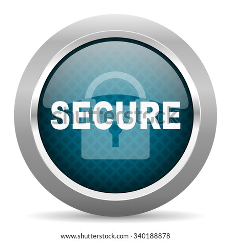 secure blue silver chrome border icon on white background  - stock photo