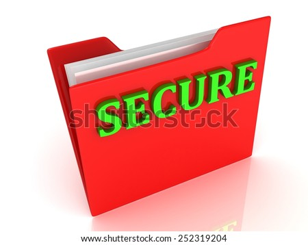 SECURE  bright green letters on a red folder on a white background - stock photo