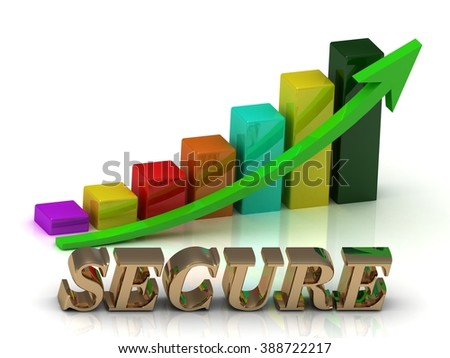SECURE bright of gold letters and Graphic growth and green arrows on white background