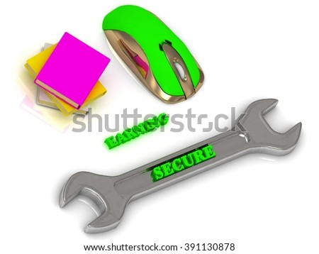 SECURE bright volume letter on silver instrument, textbooks and computer mouse on white background - stock photo