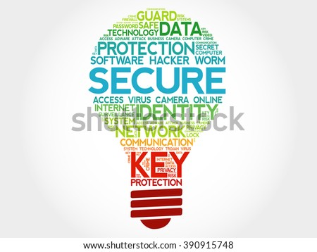 SECURE bulb word cloud, business concept - stock photo