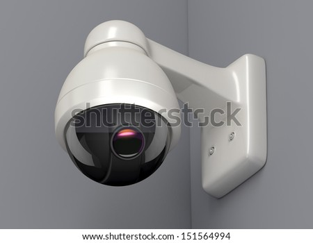 Secure camera on a grey wall, 3D render  - stock photo
