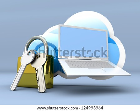 Secure cloud computing. 3D rendered illustration. - stock photo