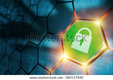 Secure Connection Concept with Safe Closed Padlock. Internet Technology Abstract. - stock photo