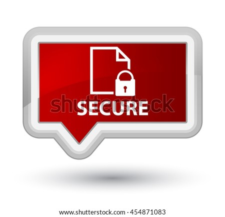 Secure (document page padlock icon) red banner button