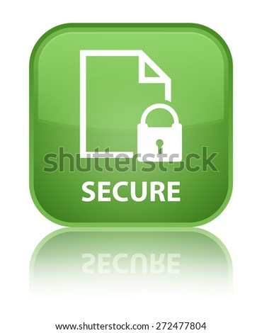 Secure (document page padlock icon) soft green square button - stock photo