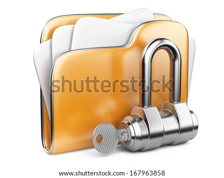 Secure files. Folder with Key in cloud shape handle. - stock photo