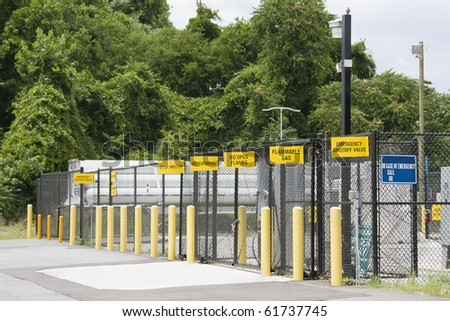 secure filling station for alternate energy, hydrogen powered vehicles - stock photo