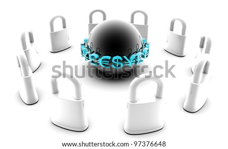 Secure Financial Data as a Encryption Protection - stock photo