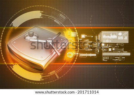 Secure Hard drive - stock photo