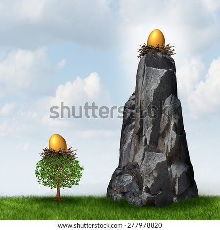 Secure investment choice as a golden nest egg in a low tree and another savings gold fund on a high hard access rock mountain as a financial and business metaphor for retirement security safeguard. - stock photo
