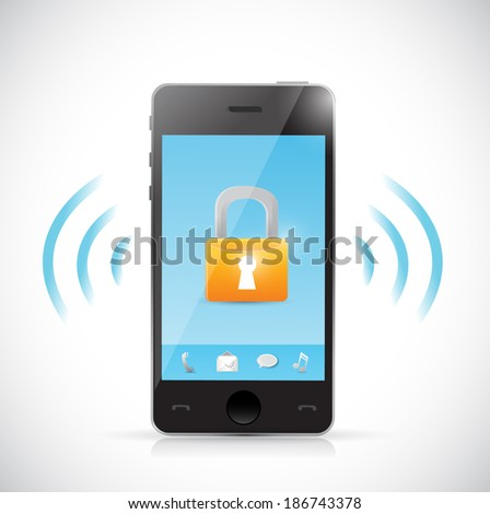 secure mobile online connection illustration design over a white background - stock photo