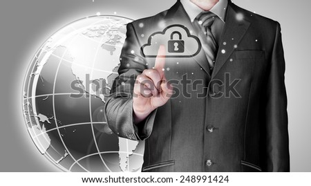 Secure Online Cloud Computing Concept with business man - stock photo