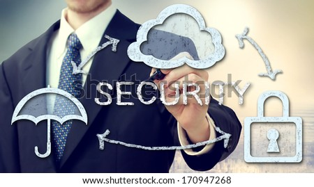 Secure online cloud computing concept with businessman - stock photo