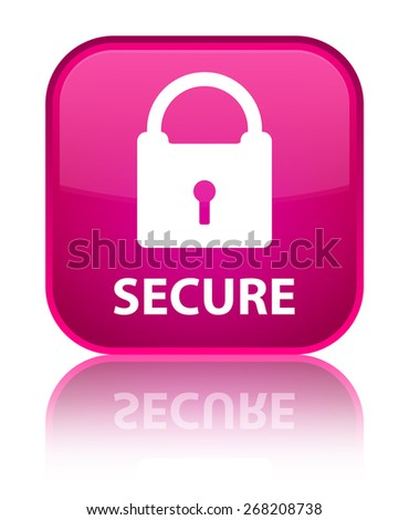 Secure (padlock icon) pink square button - stock photo