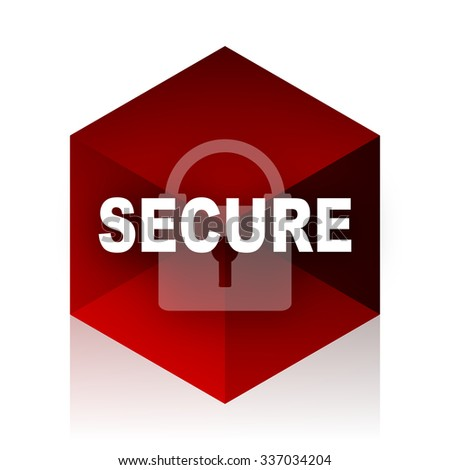 secure red cube 3d modern design icon on white background  - stock photo