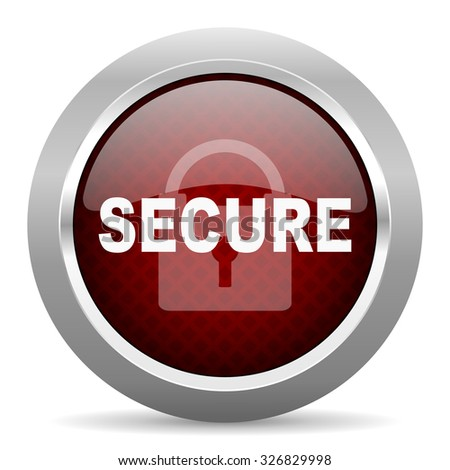 secure red glossy web icon - stock photo