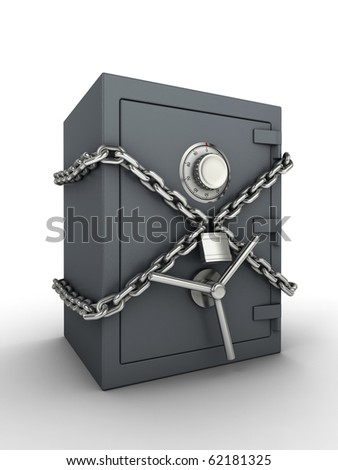 Secure safe. Bank safe with chain and padlock.