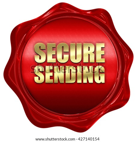 secure sending, 3D rendering, a red wax seal - stock photo
