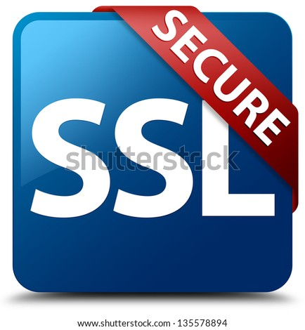 Secure (SSL icon) glassy red ribbon on glossy blue square button - stock photo
