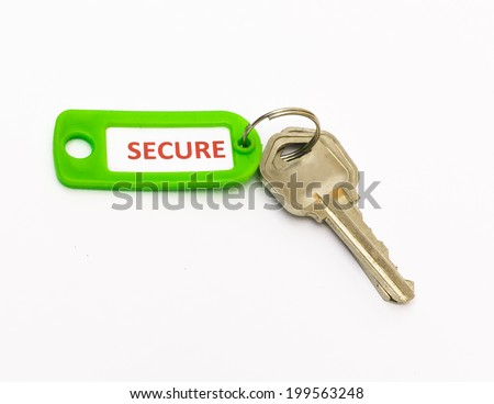 Secure tag with house keys - stock photo