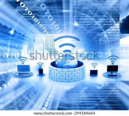 Secure wireless network devices - stock photo