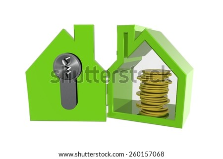 Secure your home and contents insurance - stock photo