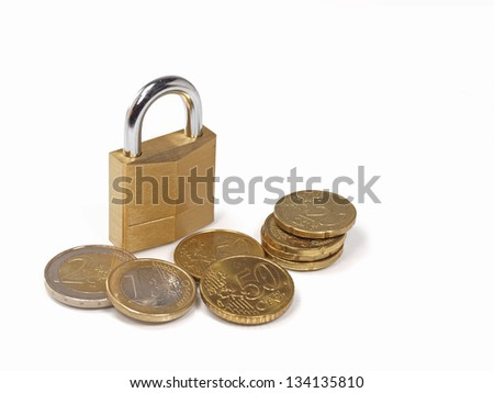 secure your investment concept as shown by lock and euro coins - stock photo
