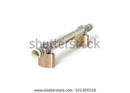 Secured dollar bill rolled into padlock on isolated white background - stock photo