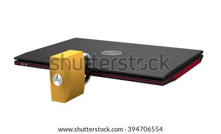 Secured laptop 3d illustration - stock photo