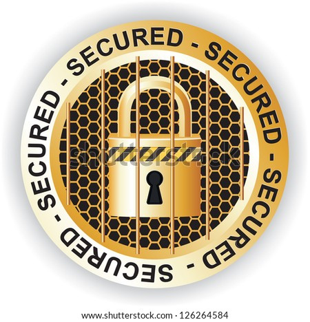 Secured Sign Gold - stock photo