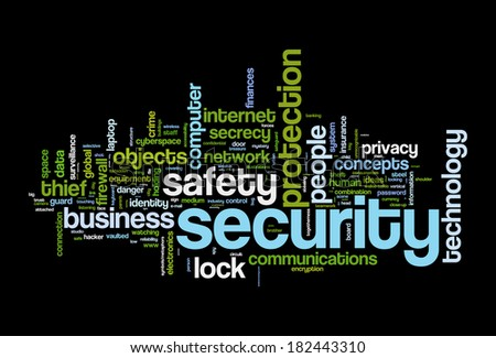 securety safety word cloud concept image - stock photo