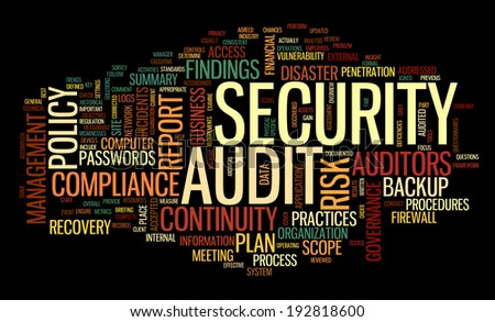 Security audit  in word tag cloud on black - stock photo