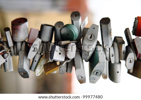 security background from a many of locks - stock photo