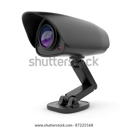 Security black camera surveillance 3D.  Safety concept. Isolated on white - stock photo